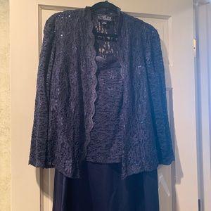 NEW Alex Evenings MOB formal navy dress. Size 16 W